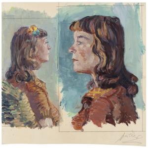 Twee portretjes van twee jonge dames naar elkaar kijkend