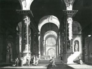 Interieur van een klassiek gebouw met een huwelijksceremonie