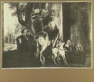 Twee jongen met een paard, honden en andere dieren voor een landhuis