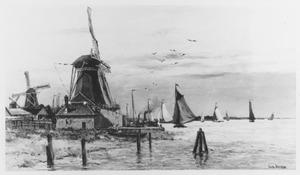 Dordrecht, windmolens langs de kust