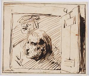 Schets van twee mannenkoppen in een venster