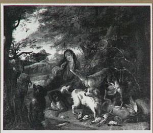 Jager en honden bij jachtbuit