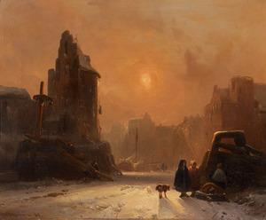 Stadgezicht in de winter