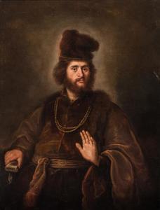Man in bontjas met een gouden ketting en een bontmuts