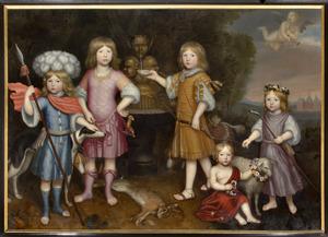 Familieportret van de vijf oudste kinderen van Jacob van Wassenaer (1648-1707) en Jacoba van Liere (..-1693)