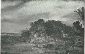 Landschap met hutten