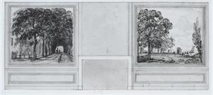 Twee behangselvlakken met een landschap ter weerszijden van een schoorsteen