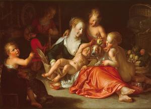 Een moeder met haar kinderen: Caritas