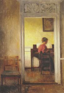 Interieur met een vrouw zittend bij een spinet