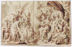 Allegorie met Hercules, de Voorspoed, de Waarheid, de Vrede en Fortuna