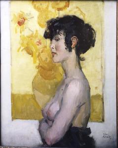 Vrouw en profil voor De Zonnebloemen van Van Gogh