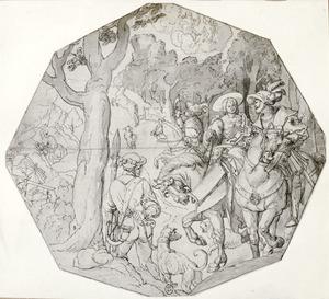 Geneviève van Brabant met haar man Siegfried te paard, na de hertenjacht?