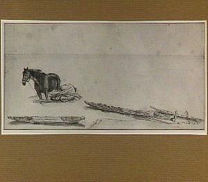 Kustgezicht met boten en een paard te water