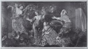 De legende van de O.L.V Kerk te Alsemberg: een engel verschijnt aan drie zusters, die bezig zijn met vlasverwerking