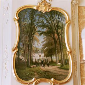 Familieportret van Oncko Q.J.J. van Swinderen (1812-1870) en enkele familieleden voor de Rensumaborg