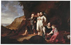 'Portrait historié' met Mozes en Aäron die het beloofde land aanschouwen