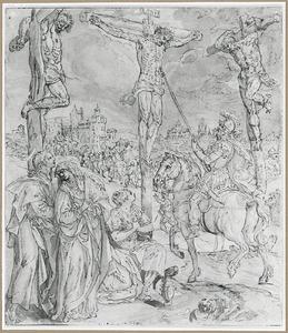 Longinus doorsteekt met zijn lans Christus' zijde