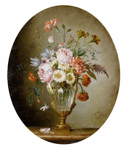 Bloemenboeket in een glazen bokaal