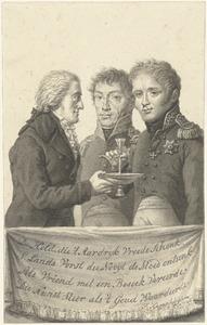 De Russische tsaar Alexander I (1777-1825), de latere koning Willem I en verzamelaar Josephus Augustinus Brentano (1753-1821) bij het bezoek aan Brentanos collectie in 1814