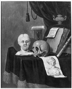 Vanitasstilleven met portretbuste en schedel