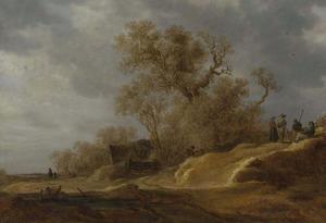 Landschap met rustende boeren langs een weg door de duinen