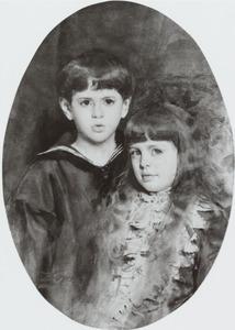 Portret van Johan Hubert Eugene Francois de Stuers (1876-1907) en Marie Alide Alice Isabelle de Stuers (1876-1884)