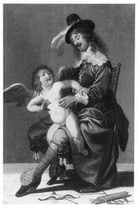 Een man met een amor op schoot, allegorie op de Liefde