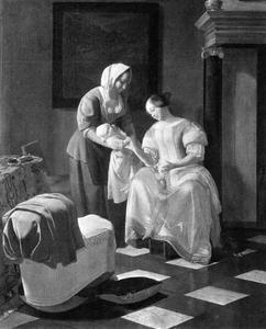 Vrouw met een voedster en een kind in een interieur
