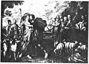 De ontmoeting van Jakob en Rachel bij de bron: Jacob kust Rachel en is tot tranen geroerd  (Genesis 29: 10-11)