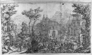 Berglandschap met fantasie-architectuur en vele figuren