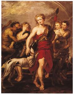 Diana en haar nimfen tijdens de jacht door een sater overvallen