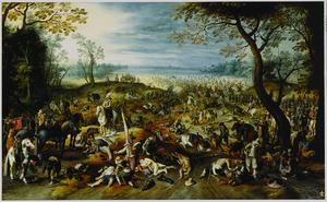 Heuvellandschap met de nasleep van een veldslag