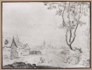Landschap met ruiter bij een dorp (mogelijk Zoutleeuw)