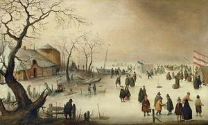 Winterlandschap met figuren en tenten op het ijs