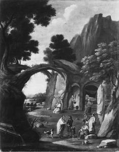 Berglandschap met zigeunerkamp bij een grot