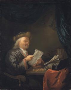 Interieur met een oude man die een brief leest, voor hem op tafel muntstukken en een juwelenkistje