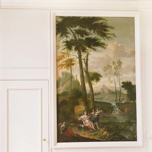 Italianiserend landschap met Diana en badende nimfen