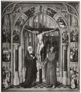 De kruisiging in een kerkinterieur omgeven door episoden uit de Passie van Christus en de zes sacramenten. Het zevende sacrament, de Eucharistie, vindt plaats voor het altaar in de kerk (de zogenaamde Cambrai-triptiek)