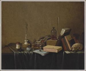 Vanitasstilleven met boeken en een schedel