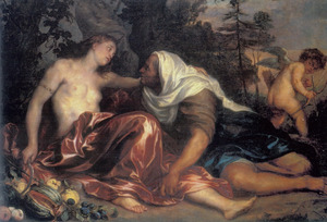 Vertumnus tracht Pomona te verleiden vermomd als oude vrouw