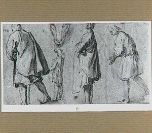 Studies van vier figuren en de kop van een dier