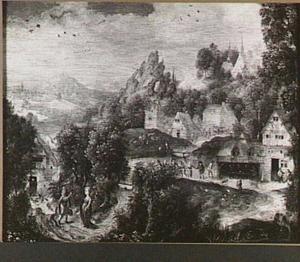Berglandschap met Maria en Jozef op zoek naar een herberg te Bethlehem