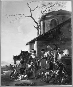Rustende jagers bij een herberg (de jager in het midden is een vrouw in mannenkleren)