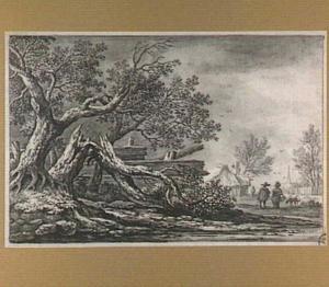 Landschap met omgewaaide boom en figuren; op de achtergrond een dorp