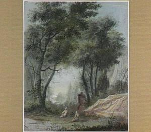 Landschap met figuren bij een grafmonument