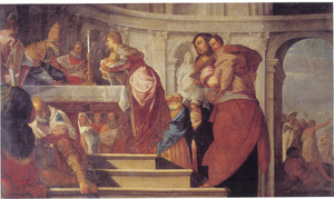 Presentatie van Christus in de tempel, met rechts de doop van Christus