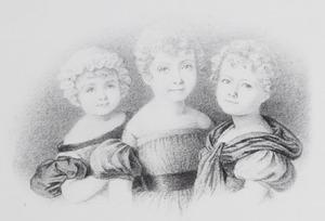 Portret van de gezusters Philippina Constantia Isabella (1827-1905), Aletta Cornelia Anna (1828-1913) en Henriette Maria Jacoba  (1830-1908) Voombergh