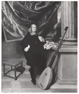 Portret van een man met een basluit (theorbe)