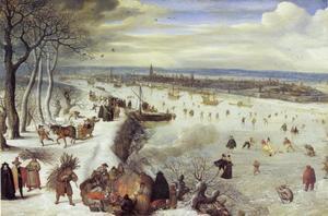 Winterlandschap met gezicht op Antwerpen