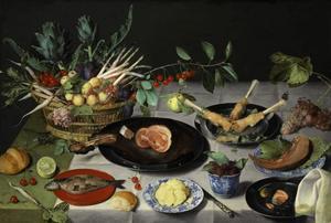Stilleven met een gedekte tafel met vlees, vruchten, brood en boter